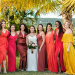 red yellow bridesmaids tropcial