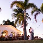 first dance island sunset twinkle lights