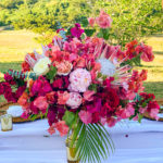 tropical centerpiece pink island flowers
