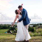 bride groom kiss ocean