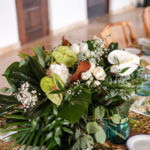 tropical table setting white and green
