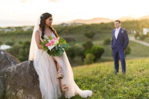 bride and groom photos island